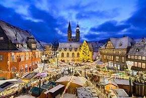Christmas market at night in Goslar, Ger