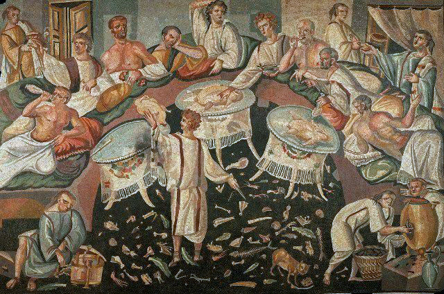 """Late antique Roman mosaic with an asarotos oikos """"unswept floor"""" now on display in Switzerland at the Chateau de Boudry."""