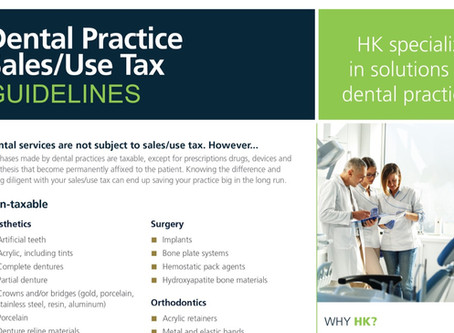 Dental Practice Sales/Use Tax Guidelines