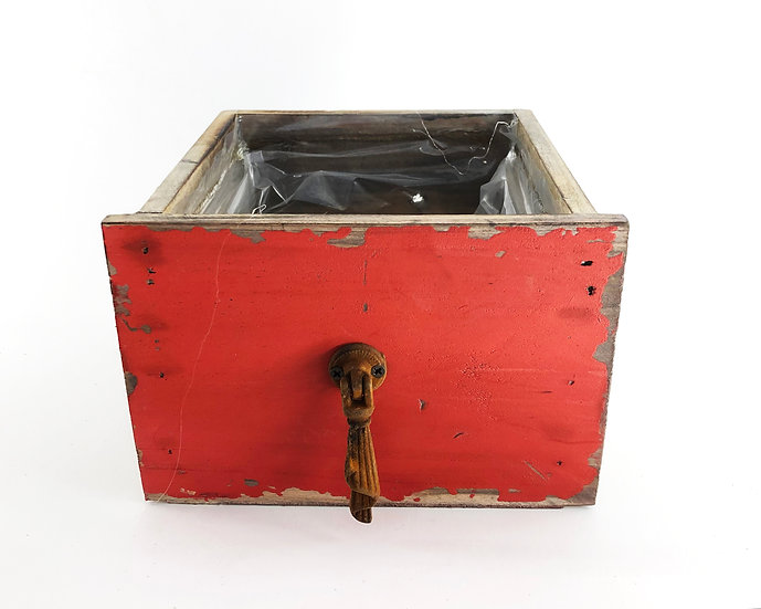 Holzkiste Antik-rot 14x14cm