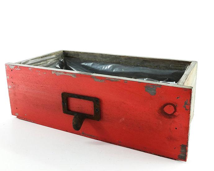 Holzkiste Antik-rot 27x27x12