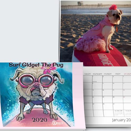 Surf Gidget The Pug 2020 Calendar