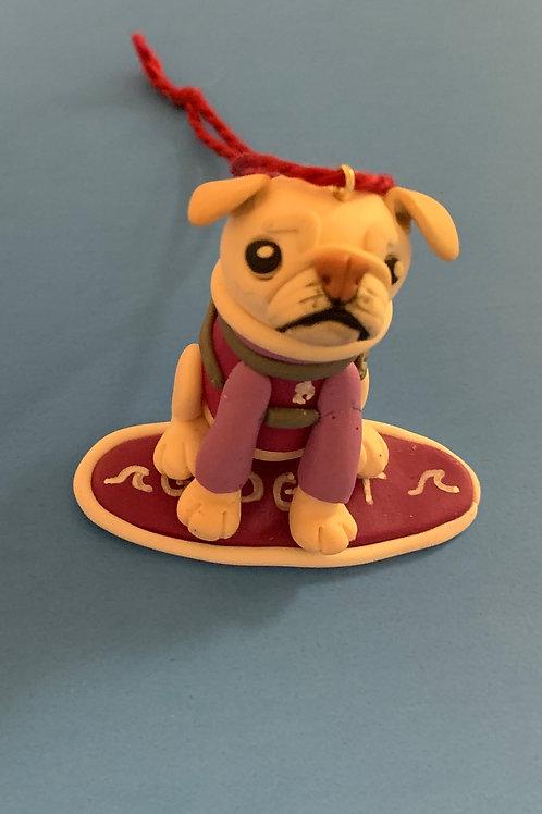 Surf Gidget The Pug Mini Me Ornament