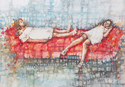 Sisters on the Red Sofa (SOLD)