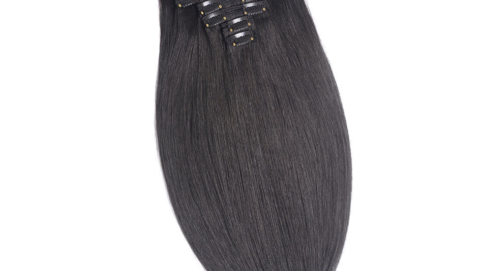 Clip-In Remy Human Hair Extension 1B Black