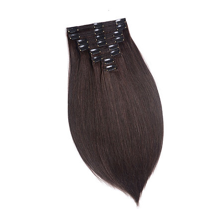 Clip-In Remy Human Hair Extension 2 Very Dark Brown