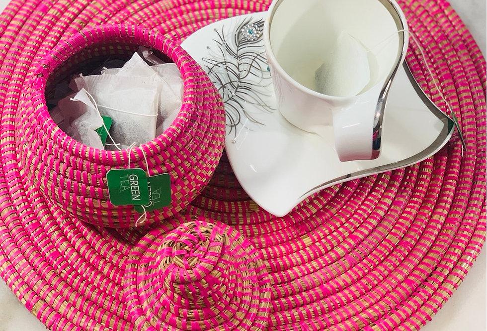 Senegal placemat and touti (pot) set