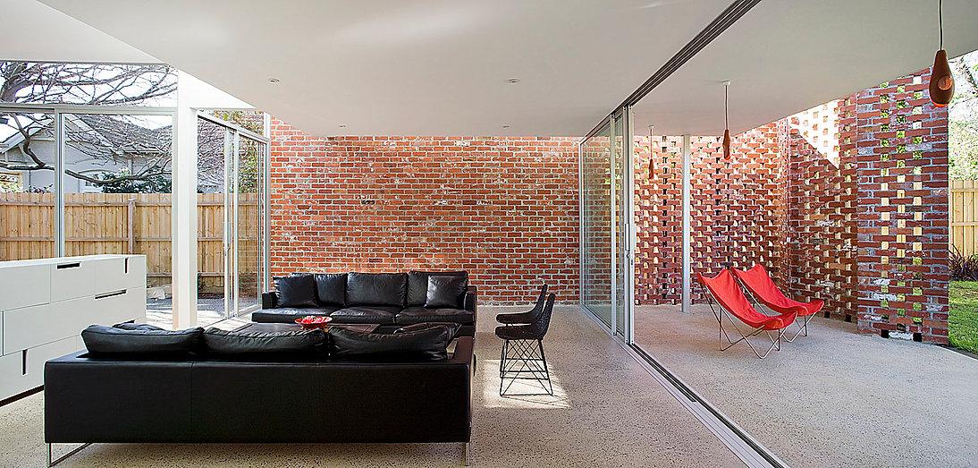 recycled brick wall, breeze brick,