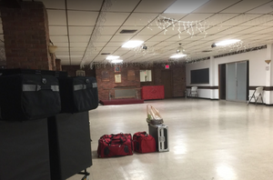 This is the spacious hall provided by the popular Vet Outpost. That's my DJ equipment on the left.