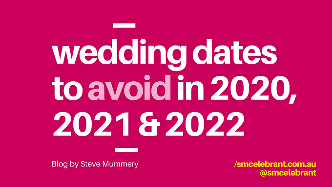 Wedding dates to avoid in 2020, 2021 & 2022