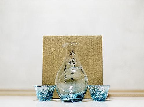東洋佐々木ガラス 冷酒玻璃杯套裝 藍色