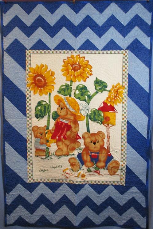Blue Garden Crib Blanket