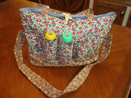 Green Floral Diaper Bag