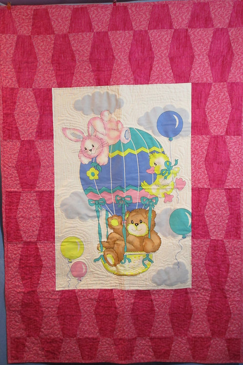 Pink Ballon Crib Blanket