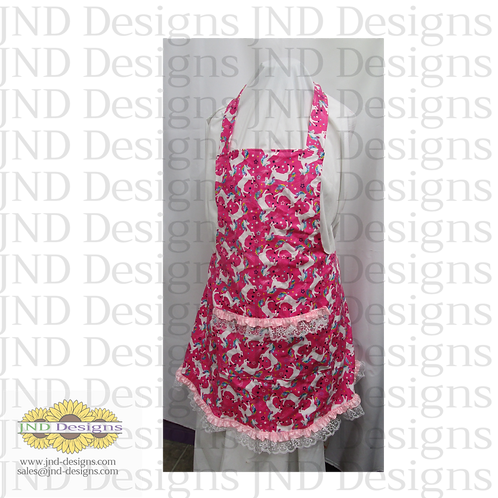 Women's  and Child's Apron, flannel print with pockets