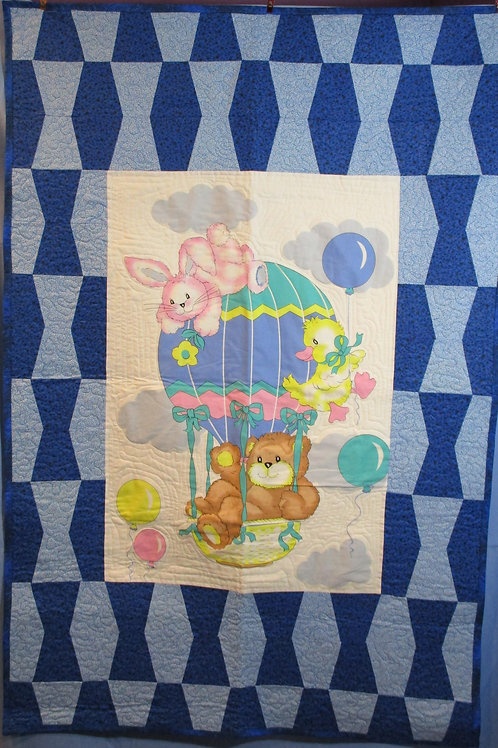 Blue Ballon Crib Blanket