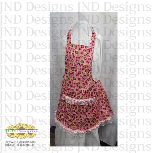 Women's  and Child's Apron, cotton print with pockets
