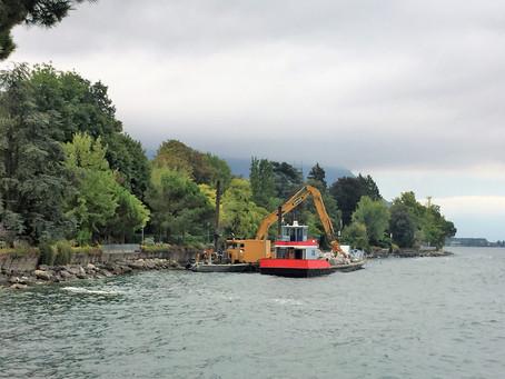 How is the shore around Lake Geneva created?