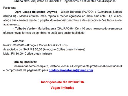 CONVITE: I Cliclo de Palestras - NAU (Núcleo de Arquitetos e Urbanistas do Oeste Baiano)