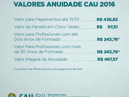 Anuidade do CAU pode ser paga com 10% de desconto até 31 de janeiro