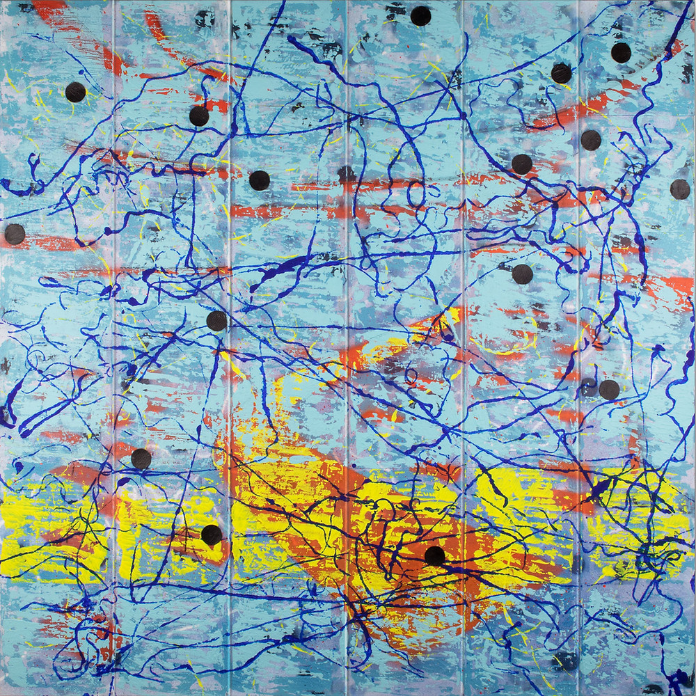 Abstract contemporary art painting with cyan background and yellow and red colours.