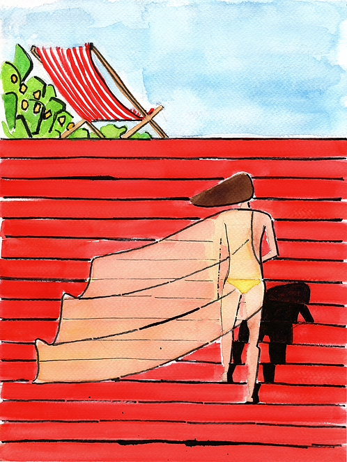 Watercolour on paper - Lady on stairs
