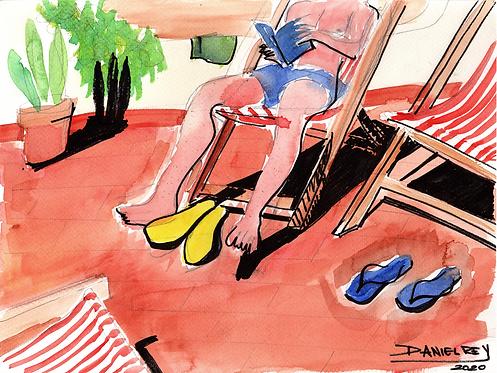 Man reading on beach chair