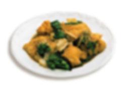 Peito de frango cortado em xadrez ao molho shoyu
