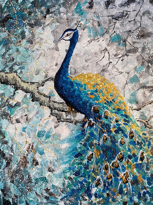 Peacock on the snow