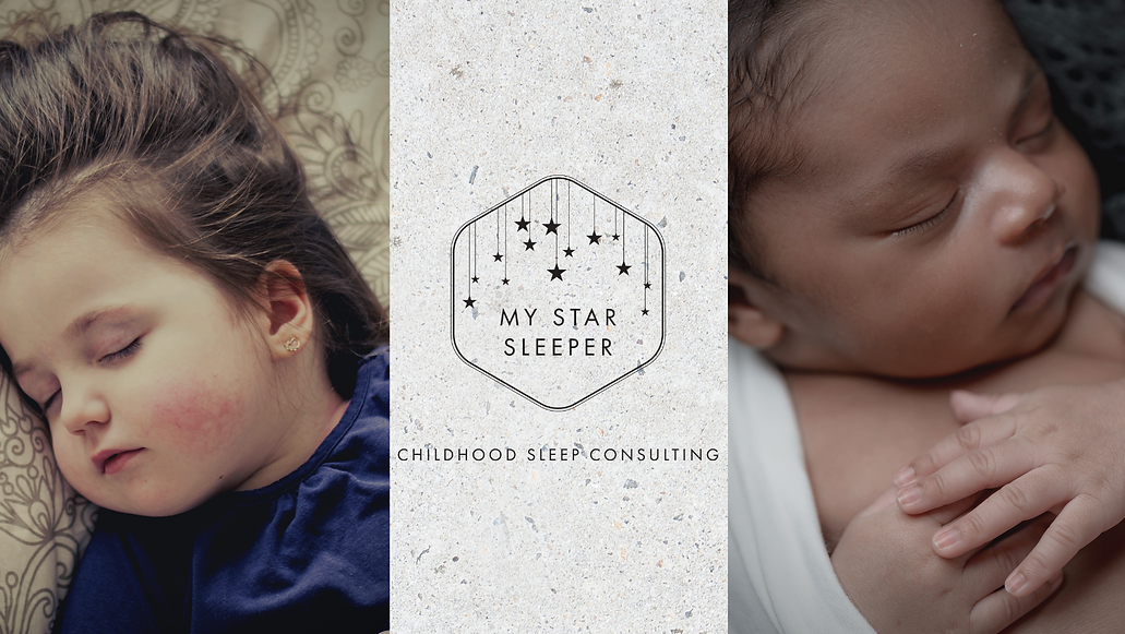 My Star Sleeper business logo with an image of a sleeping child and baby on either side.