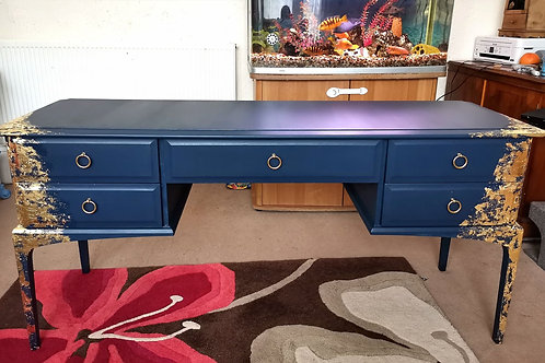 Vintage Stag Minstrel Dressing Table with Mirrors and stool Midnight Blue