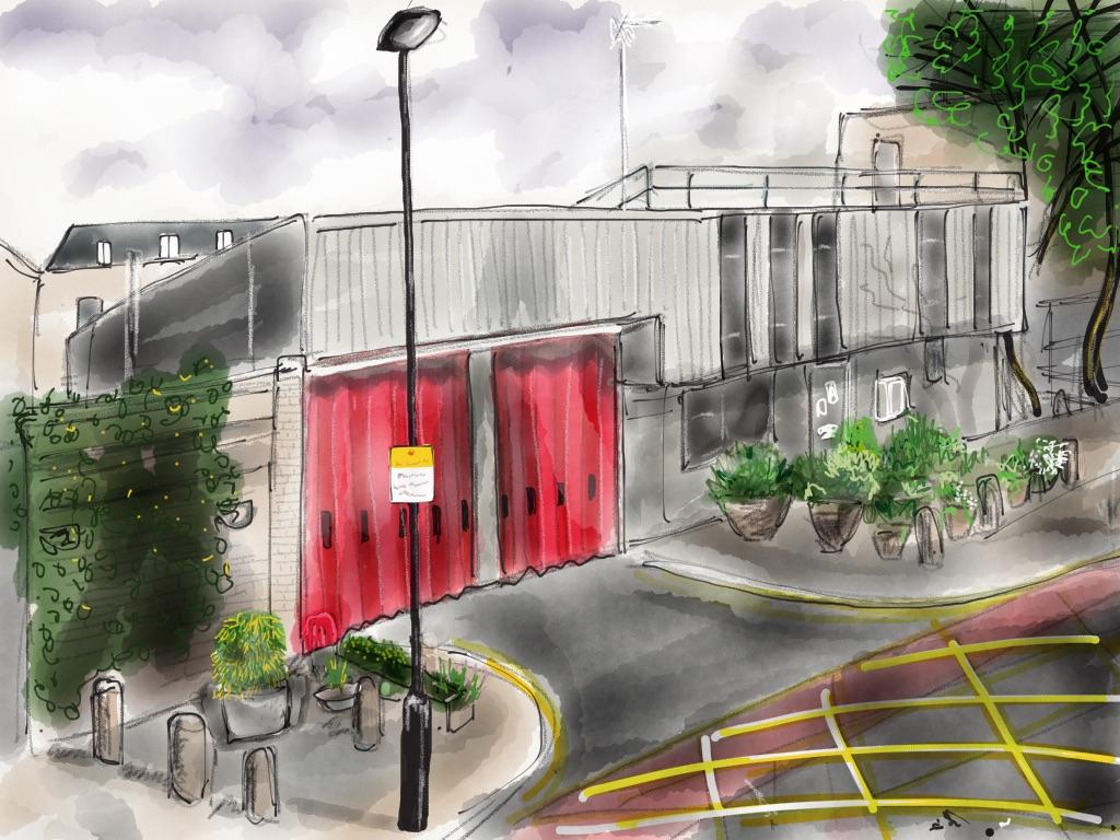 Fire station, summer pots
