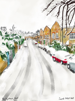 Railey Mews in snow