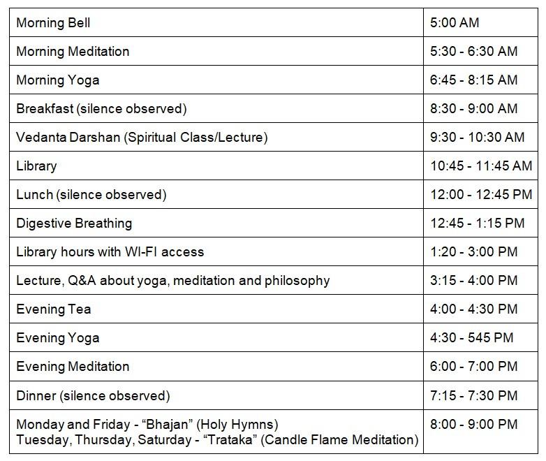Yoga Niketan Ashram Daily Schedule