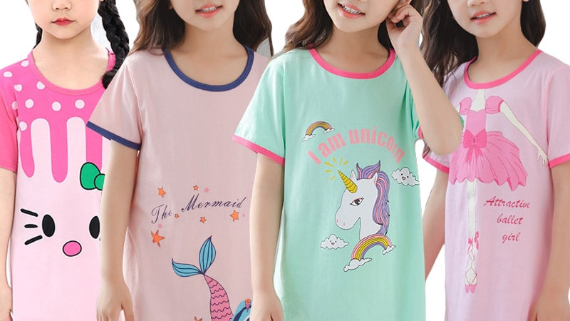 Unicorn Cotton Nightdress Little Teen Girl Pajamas Dresses