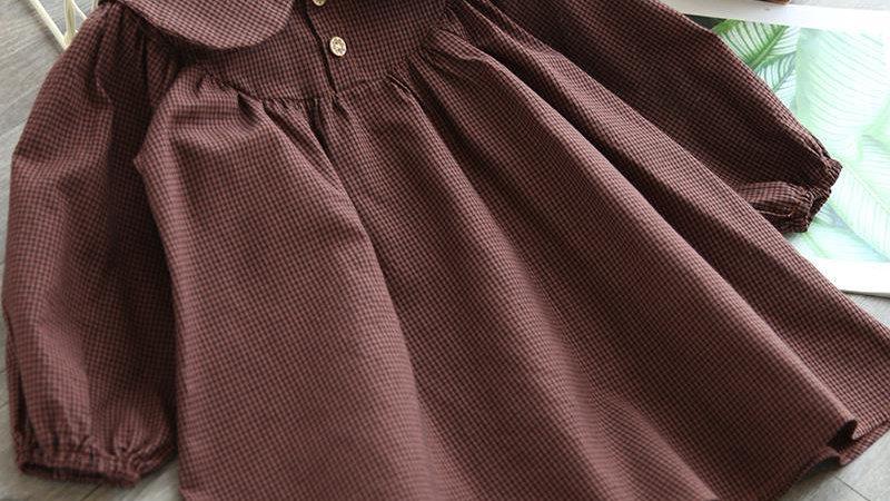 Mihkalev 2021 Kids Clothes Girl Autumn Plaid Dress