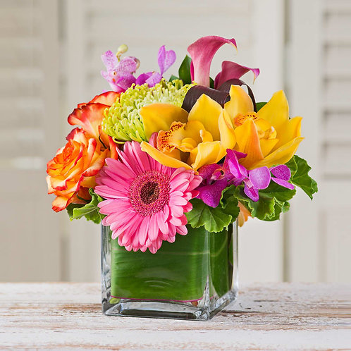 Hints of Summer - modern cube of seasonal flowers in a summer color palette