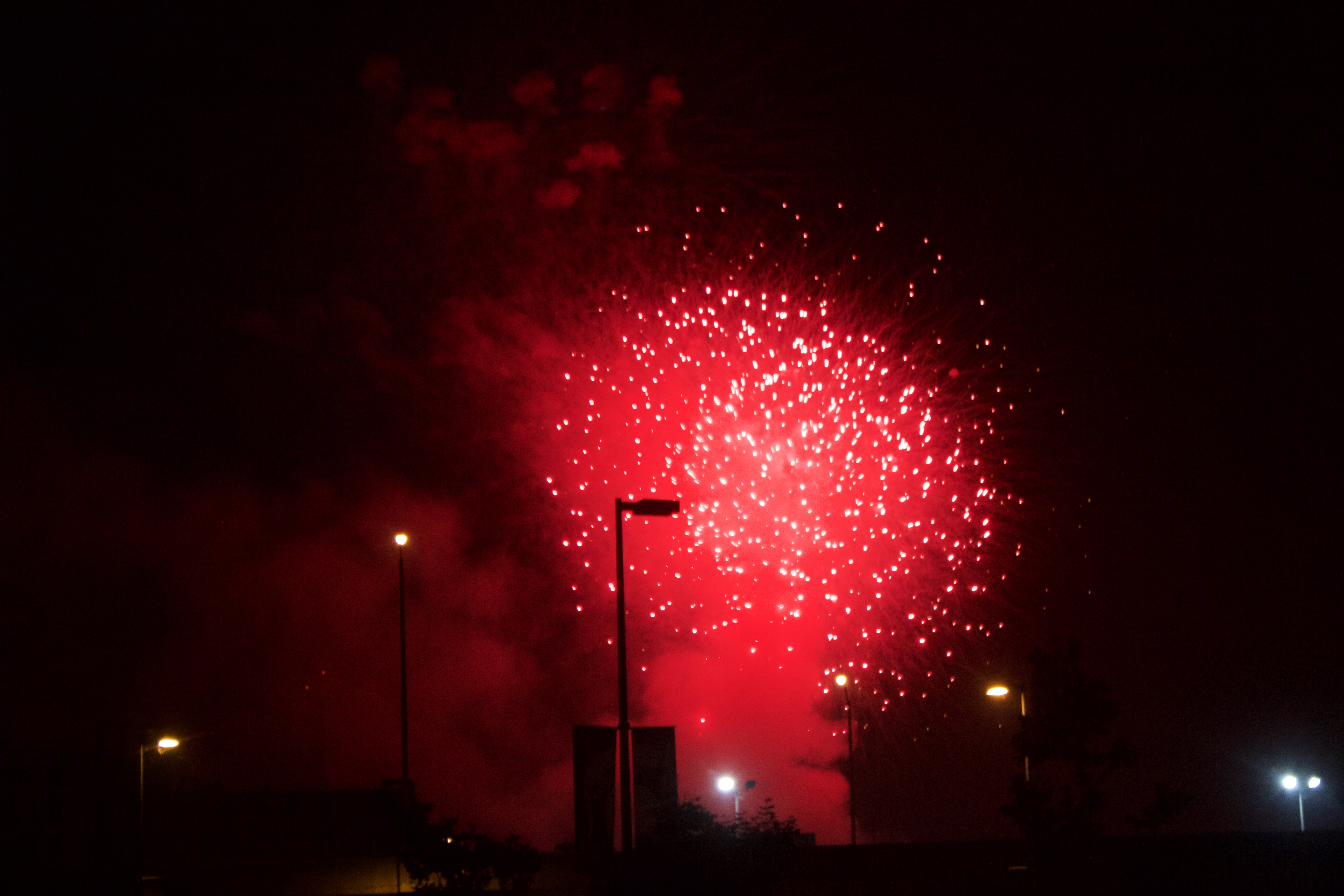 Fireworks in red