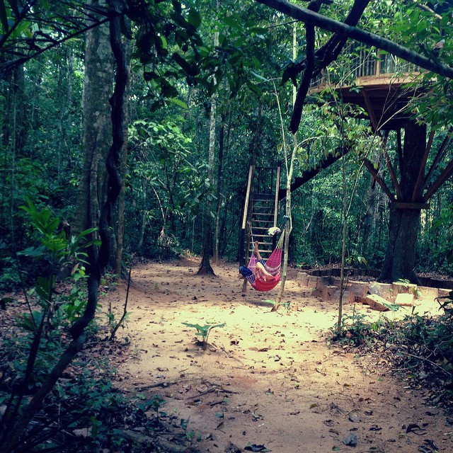 Relax in a hammock outside your treehouse