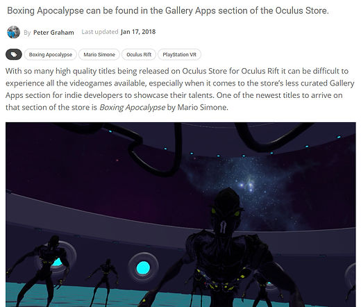 Peter Graham from VR Focus write-up about Boxing Apocalypse by Mario Simone