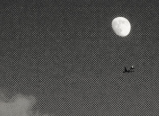 MOON, PLANE AND CLOUD
