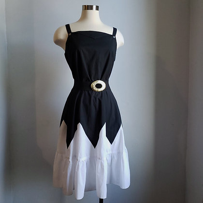 1980s Black and White Sleeveless Summer Midi Dress