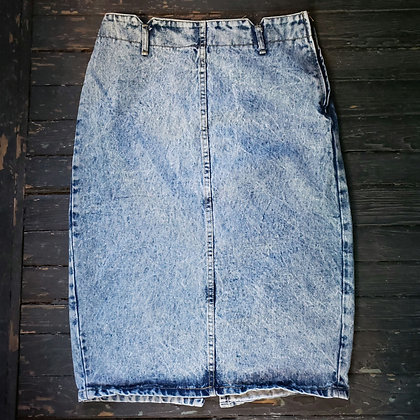 "1980s BONGO Acid Wash Denim Pencil Skirt 28"" High Waist"