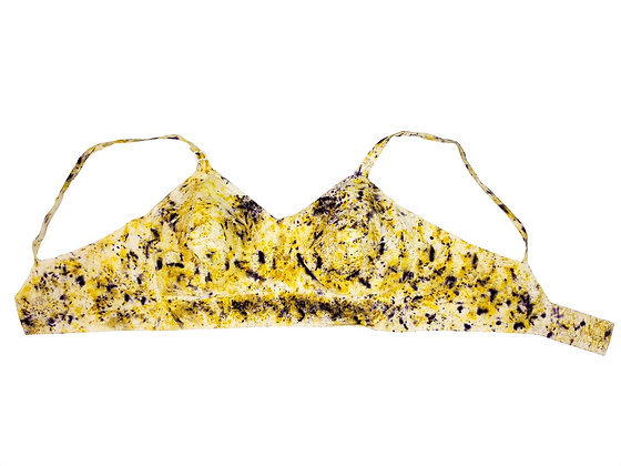 Naturally Bundle Dyed 1950's Bullet Bra 34D - Yellow and Purple
