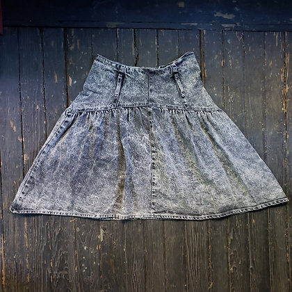 "80s 90s Vintage Acid Wash Denim Skater Skirt 24"" Waist"