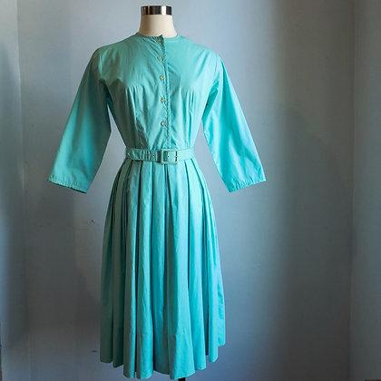 1950s Teal Belted Shirtwaist Dress Size 8 / 10 (36 Bust, 26 Waist)