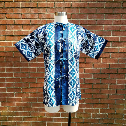 1960s Ceeb of Miami Swimsuit Cover Up Tunic Dress, Blue Ikat Hawaiian Floral