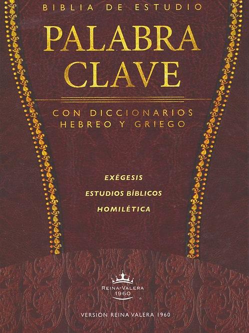 Biblia de Estudio Palabra Clave RVR 1960, piel especial marron