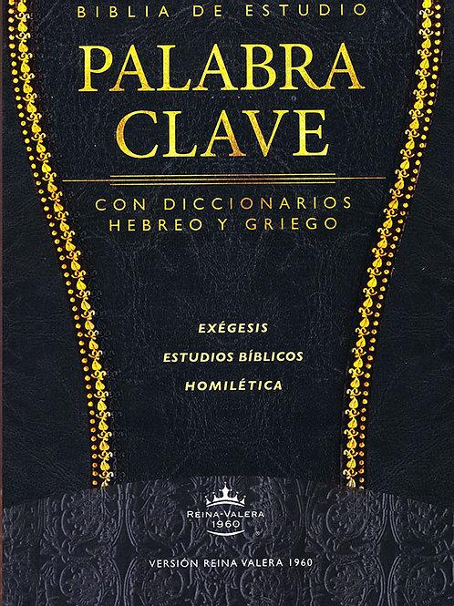 Biblia de Estudio Palabra Clave RVR 1960, piel especial negro