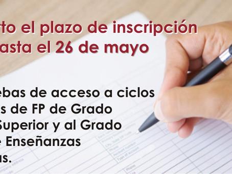 26 de mayo: Plazo de inscripción para las pruebas de acceso a FP Grado Medio y Superior